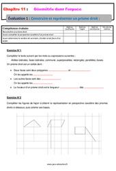 Construire et représenter un prisme droit - 5ème - Géométrie dans l'espace - Evaluation, bilan, contrôle avec la correction
