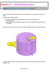 Construire et représenter un cylindre - 5ème - Géométrie dans l'espace - Cours