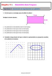 Construire et représenter un cylindre - 5ème - Géométrie dans l'espace - Exercices avec les corrections