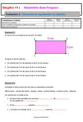 Construire et représenter un cylindre - 5ème - Géométrie dans l'espace - Evaluation, bilan, contrôle avec la correction