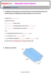 Patrons - 5ème - Géométrie dans l'espace - Exercices avec les corrections