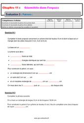 Patrons - 5ème - Géométrie dans l'espace - Evaluation, bilan, contrôle avec la correction
