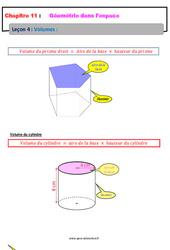 Volumes - 5ème - Géométrie dans l'espace - Cours