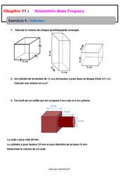 Volumes - 5ème - Géométrie dans l'espace - Exercices avec les corrections