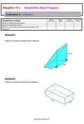 Volumes - 5ème - Géométrie dans l'espace - Evaluation, bilan, contrôle avec la correction