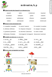La lettre m devant m, b, p – Ce2 – Étude de la langue – Exercices avec les corrigés