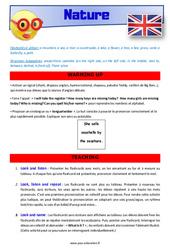 Nature – CM1 – CM2 – Anglais – Lexique – Séquence complète – Cycle 3
