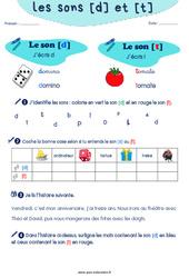 Confusion entre les sons [d] et [t] - CP - CE1 - Exercices de phonologie avec les corrections