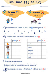 Confusion entre les sons [f] et [v] - CP - CE1 - Exercices de phonologie avec les corrections