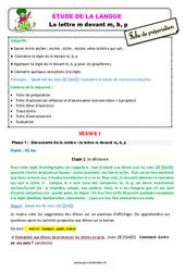La lettre m devant m, b, p – Ce1 – Étude de la langue – Fiche de préparation