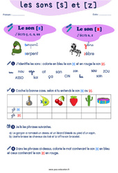 Confusion entre les sons [s] et [z] - CP - CE1 - Exercices de phonologie avec les corrections