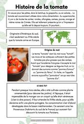 Histoire de la tomate – CE2 – Lecture documentaire