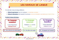 Les niveaux de langue - Cycle 3 - Affiche