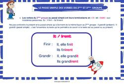 Passé simple des verbes du 2ème et 3ème groupe - Cycle 3 - Affiche