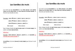 Familles de mots - Cm2 - Leçon