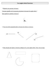 Angles droits – Ce2 – Exercices à imprimer