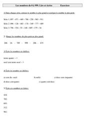Lire et écrire les nombres de 0 à 999 – Ce2 – Exercices