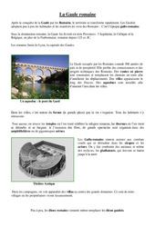 Romanisation de la Gaule – Document sur l'antiquité – Ce2 –  Questionnaire et correction –  Histoire – Cycle 3