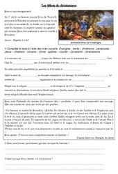 Les débuts du christianisme - Antiquité - Exercices - Ce2 - Cycle3: Document avec questionnaire et correction