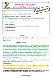 L'imparfait des verbes en -er/-ir – Ce2 – Étude de la langue – Fiche de préparation