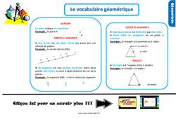 Leçon, trace écrite sur le vocabulaire géométrique au Ce1