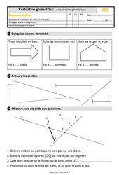 Évaluation, bilan sur le vocabulaire de géométrie au Ce1 avec la correction