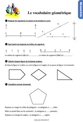 Exercices, révisions sur le vocabulaire géométrique au Ce1 avec les corrections