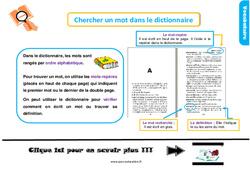 Leçon, trace écrite sur chercher un mot dans le dictionnaire au Ce1