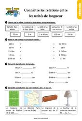 Exercices, révisions sur connaître les relations entre les unités de longueur au Ce1 avec les corrections