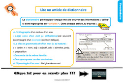 Leçon, trace écrite sur lire un article de dictionnaire au Ce1