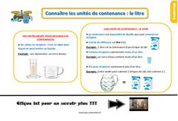 Leçon, trace écrite sur connaître les unités de contenance : le litre au Ce1