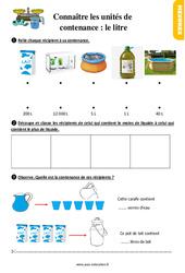 Exercices, révisions sur connaître les unités de contenance : le litre au Ce1 avec les corrections