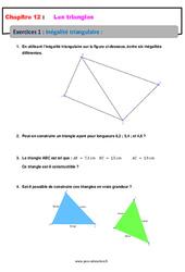 Inégalité triangulaire – 5ème – Exercices avec les corrections