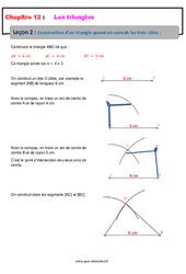 Construction d'un triangle quand on connait les trois côtés – 5ème – Cours