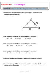 Construction d'un triangle quand on connait les trois côtés – 5ème – Exercices avec les corrections