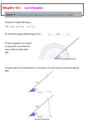 Construction d'un triangle quand on connait deux côtés et un angle – 5ème – Cours