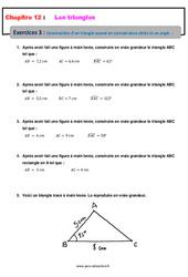 Construction d'un triangle quand on connait deux côtés et un angle – 5ème – Exercices avec les corrections