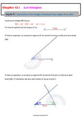 Construction d'un triangle connaissant deux angles et un côté – 5ème – Cours