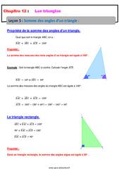 Somme des angles d'un triangle – 5ème – Cours