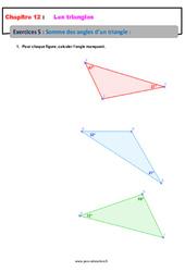 Somme des angles d'un triangle – 5ème – Exercices avec les corrections