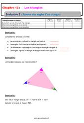 Somme des angles d'un triangle – 5ème – Evaluation, bilan, contrôle avec la correction