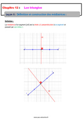 Définition et construction des médiatrices – 5ème – Les triangles – Cours