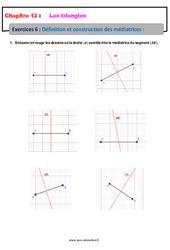 Définition et construction des médiatrices – 5ème – Les triangles – Exercices avec les corrections
