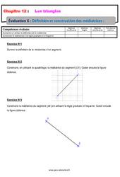 Définition et construction des médiatrices – 5ème – Les triangles – Evaluation, bilan, contrôle avec la correction