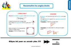 Leçon, trace écrite sur reconnaître les angles droits au Ce1
