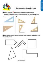Exercices, révisions sur reconnaître les angles droits au Ce1 avec les corrections