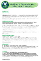Quelle est la règlementation pour réaliser une sortie scolaire? - CRPE2022