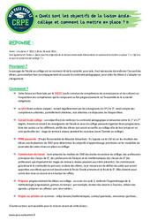 Quels sont les objectifs de la liaison école-collège et comment la mettre en place? - CRPE2022