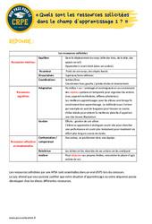 Quels sont les ressources sollicitées dans le champ d'apprentissage 1? - EPS - CRPE2022