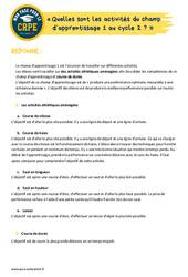 Quelles sont les activités du champ d'apprentissage 1 au cycle 2? - EPS - CRPE2022